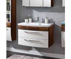 Badezimmer Waschbeckenschrank in Weiß Hochglanz Walnuss 2 Schubladen