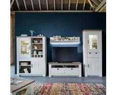 Wohnzimmer Anbauwand im skandinavischen Design Kiefer Weiß (4-teilig)