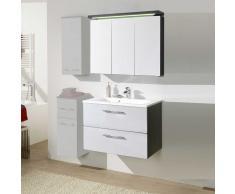 Badezimmer Set in Weiß Hochglanz mit Spiegelschrank (2-teilig)