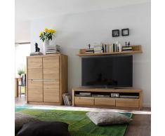 Wohnzimmer Wohnwand aus Wildeiche Massivholz Bianco geölt (3-teilig)