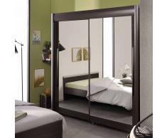 Spiegel Kleiderschrank mit Schiebetüren Braun