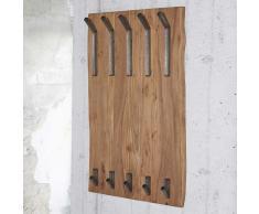 Baumkanten Garderobe aus Akazie Massivholz 100 cm hoch
