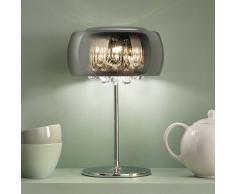 Tischleuchte mit Glasschirm Stahl verchromt