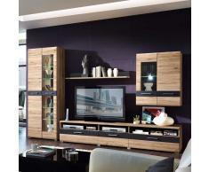 Wohnzimmer Anbauwand mit LED Beleuchtung San Remo Eiche Schiefer Anthrazit (4-teilig)