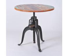 Runder Tisch aus Mangobaum höhenverstellbar