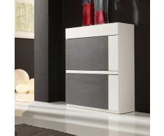 Design Schuhschrank in Grau und Weiß Hochglanz Klappen