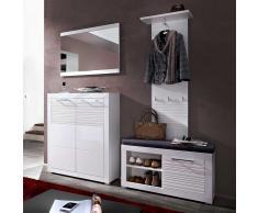 Garderobenset in Weiß Hochglanz geriffelt mit Bank (4-teilig)