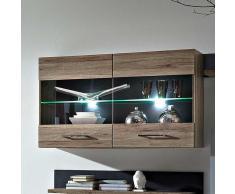 Wohnzimmer Hängevitrine in Eiche San Remo LED Beleuchtung