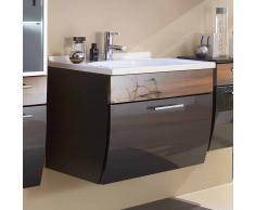 Waschtischunterschrank mit Becken Anthrazit Hochglanz Walnuss