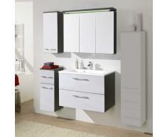 Badezimmer Set in Hochglanz Weiß Anthrazit (4-teilig)