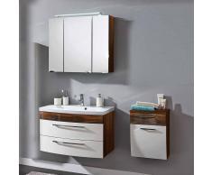 Badezimmer Set in Weiß Hochglanz Walnuss (3-teilig)