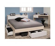 Schlafzimmerset mit Stauraumbett und Schreibtisch Weiß Akazie (2-teilig)