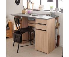 Schreibtisch für Jugendzimmer Eiche Grau