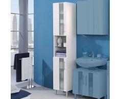 Badezimmer-Hochschrank Zweitürig Weiß Hochglanz