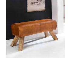 Design Sitzbank in Braun Leder Massivholzbeine