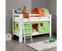 Kinderstockbett mit Vorhang und Tunnel Orange Grün
