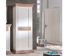 Landhaus Garderobenschrank in Weiß Fichte 80 cm breit