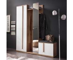 Garderobenmöbel in Weiß und Eiche Spiegel (3-teilig)