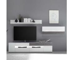 Design Wohnwand mit LED Beleuchtung Weiß Hochglanz und Beton Grau (3-teilig)