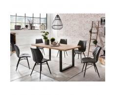 Esszimmergruppe aus Buche Massivholz Eisen Loft Design (7-teilig)