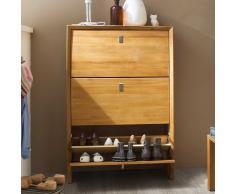 Garderoben Schuhschrank mit 3 Klappen Kernbuche Massivholz