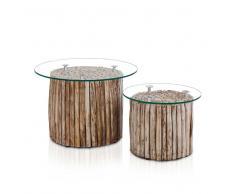 Zweisatztisch mit Glasplatte Teak Massivholz