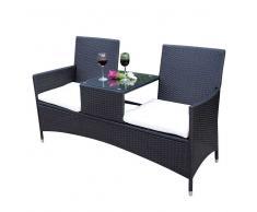 Garten Doppelbank in Grau mit Tisch