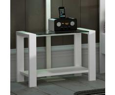Nachttisch mit Glasplatte Weiß