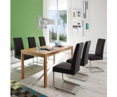 Esszimmer Tischgruppe mit Kernbuche Massivholztisch 6 Freischwinger (7-teilig)
