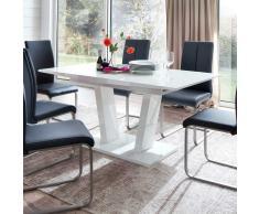 Säulen Esstisch mit Auszug Weiß Hochglanz
