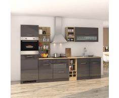 Hochglanz Küchenblock in Grau Eiche Sonoma mit Elektrogeräten (12-teilig)