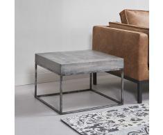Couch Beistelltisch aus Mangobaum Massivholz Edelstahl