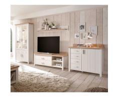 Anbauwand in Weiß und Eiche skandinavischen Landhausstil (4-teilig)