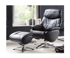 Relaxsessel in Schwarz Leder Fußhocker (2-teilig)