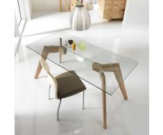 Glas Esstisch mit Eiche furniert 160 cm breit