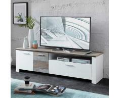 TV Board in Grau Treibholz Dekor Weiß