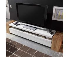 TV Lowboard in Weiß matt mit Eiche Massivholz