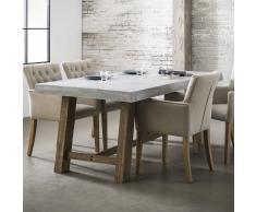 Esszimmertisch aus Beton Eiche Massivholz