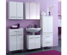 Badezimmer Kombination in Hochglanz-Weiß komplett (5-teilig)