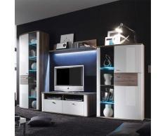 Wohnzimmer Wohnwand in Hochglanz Weiß Eiche dunkel (4-teilig)