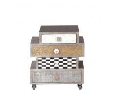 Design Kommode in Silber Schubladen