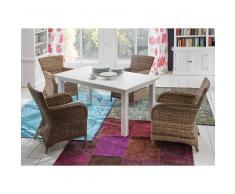 Essgruppe mit Korbstühlen ausziehbarem Tisch (5-teilig)