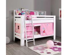 Fee Etagenbett mit Vorhang in Weiß Rosa Buche Massivholz