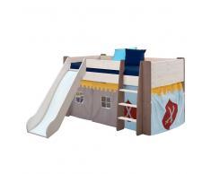 Ritter Kinderbett mit Vorhang halbhoch (3-teilig)