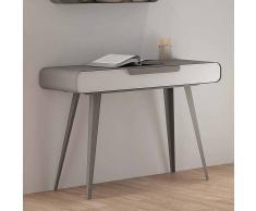 Retro Konsolentisch in Weiß Grau Kunstleder modern
