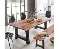 Esszimmertisch mit Baumkante Akazie massiv Schwarz Eisen