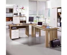 Bürotisch mit Rollcontainer Eiche Sonoma Weiß (2-teilig)