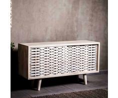 Design Sideboard aus Mangobaum Massivholz Schiebetüren