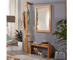 Garderobenmöbel Set mit Standgarderobe und Bank Wildeiche Massivholz (3-teilig)