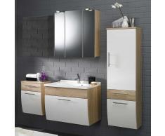 Badezimmer Komplettset mit Spiegelschrank und Waschtisch Weiß Hochglanz Eiche Sonoma (4-teilig)